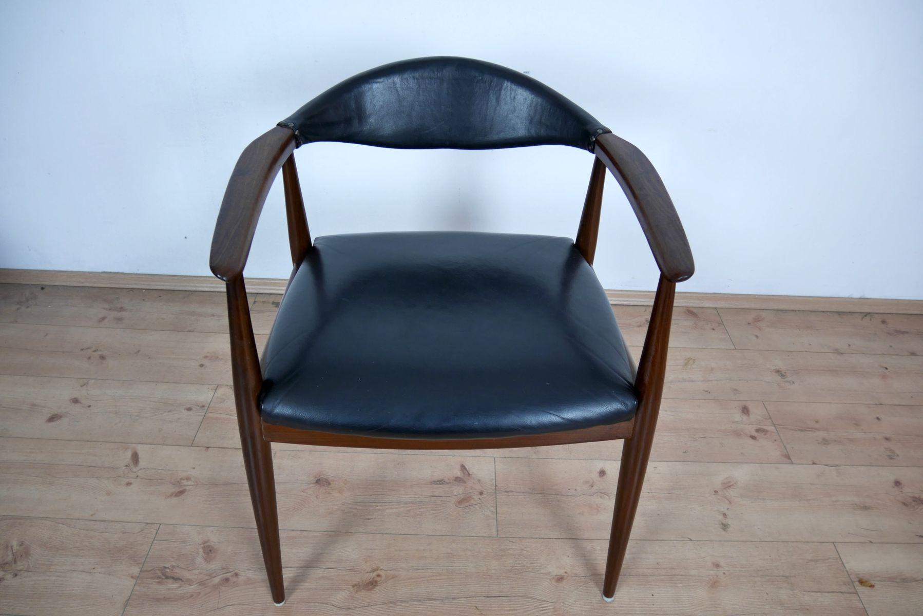 schreibtischstuhl aus teak und leder von casala 1960er bei pamono kaufen. Black Bedroom Furniture Sets. Home Design Ideas