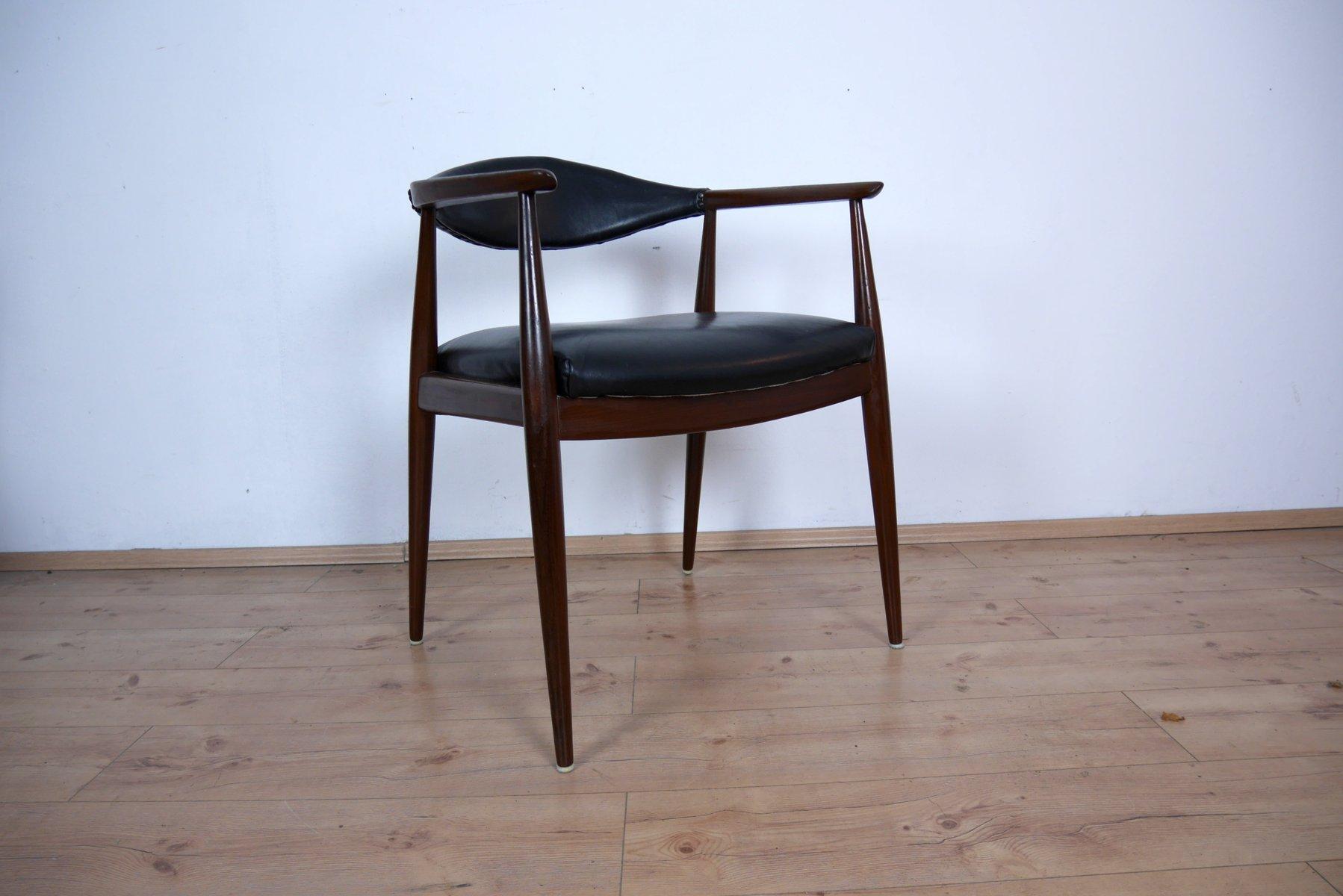 schreibtischstuhl aus teak und leder von casala 1960er. Black Bedroom Furniture Sets. Home Design Ideas