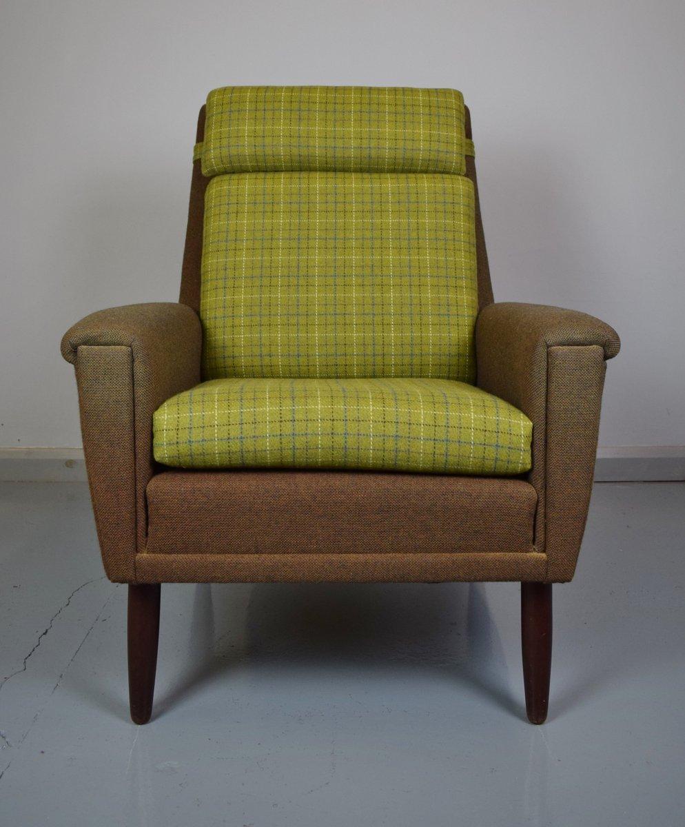 d nischer sessel mit gr nem wollbezug 1960er bei pamono. Black Bedroom Furniture Sets. Home Design Ideas