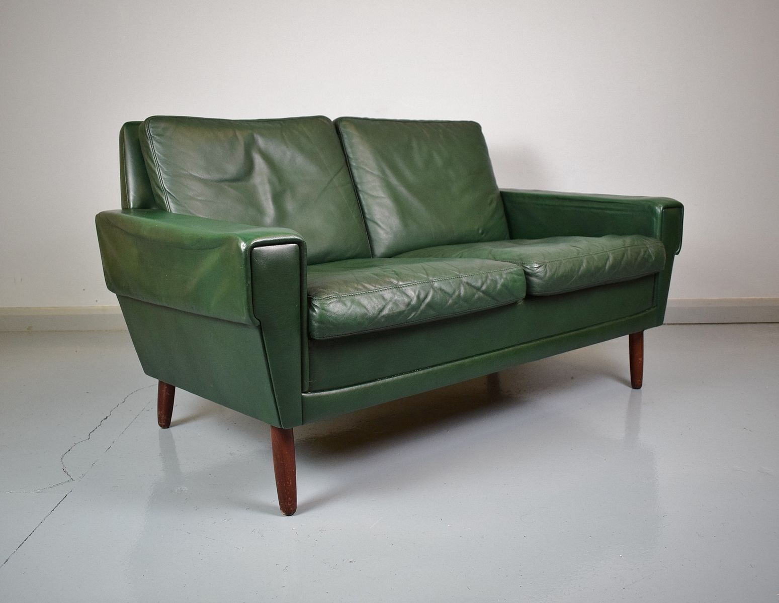 Mid-Century Danish Green Leather 2-Seater Sofa