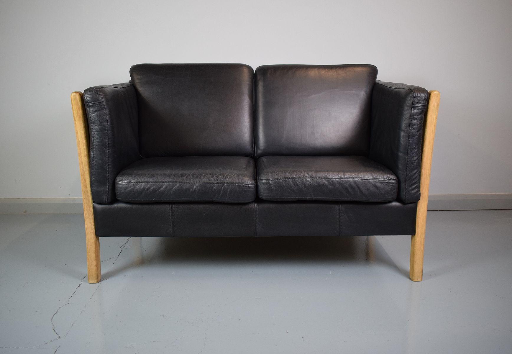 Vintage Danish Black Leather 2-Seater Sofa