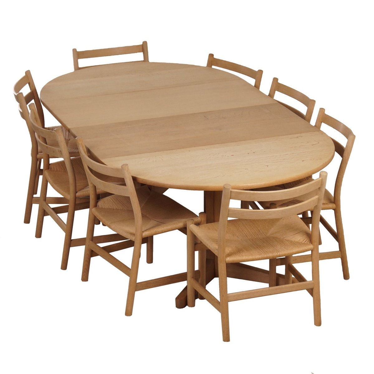 blank oak dining set with 8 ch47 dining chairs table by hans wegner m ller 1965 for sale at. Black Bedroom Furniture Sets. Home Design Ideas