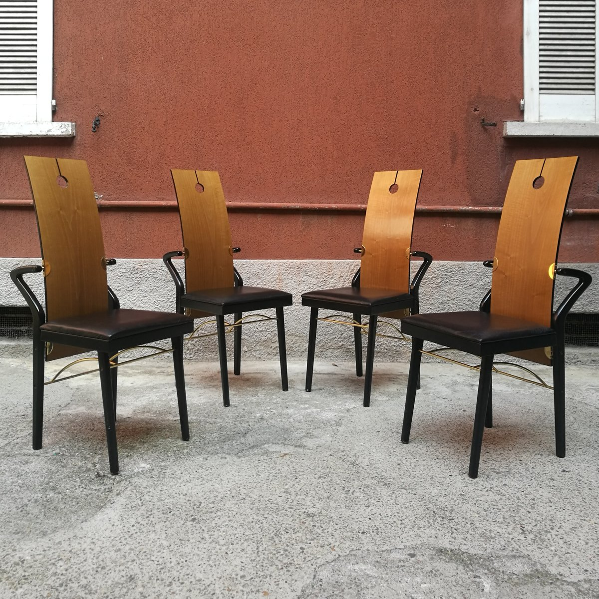 table 4 chairs by pierre cardin 1979 for sale at pamono. Black Bedroom Furniture Sets. Home Design Ideas