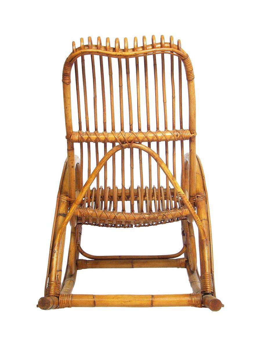 Mid century schaukelstuhl aus bambus und rattan 1960er for Schaukelstuhl aus bambus