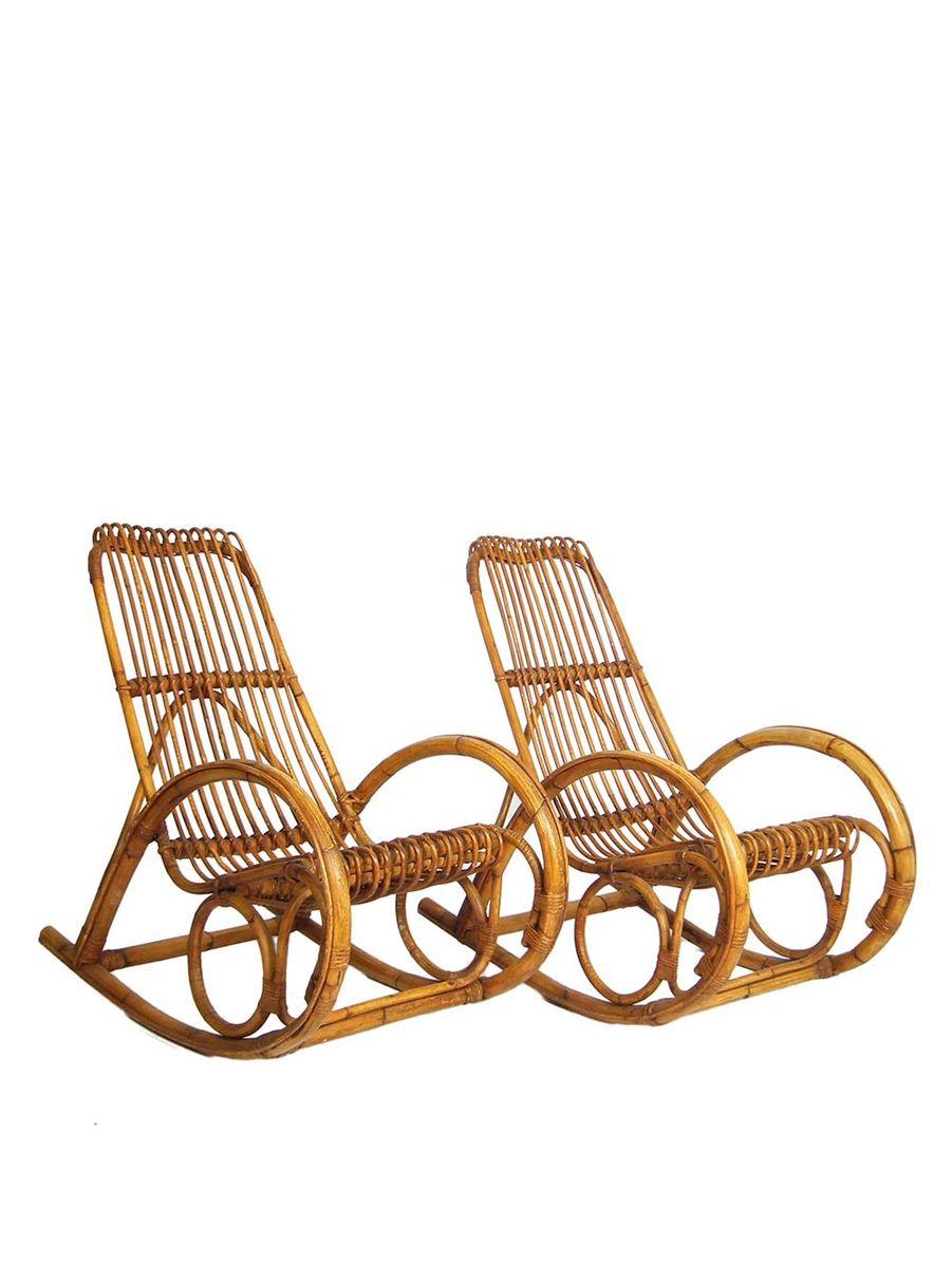 Mid century schaukelstuhl aus bambus und rattan 1960er for Schaukelstuhl aus rattan