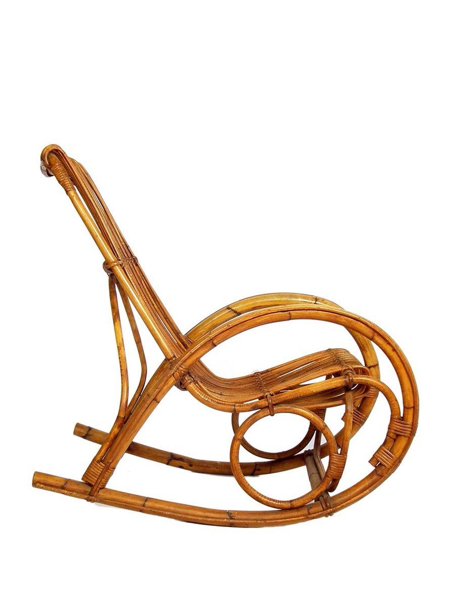 Mid century schaukelstuhl aus bambus und rattan 1960er for Schaukelstuhl bambus