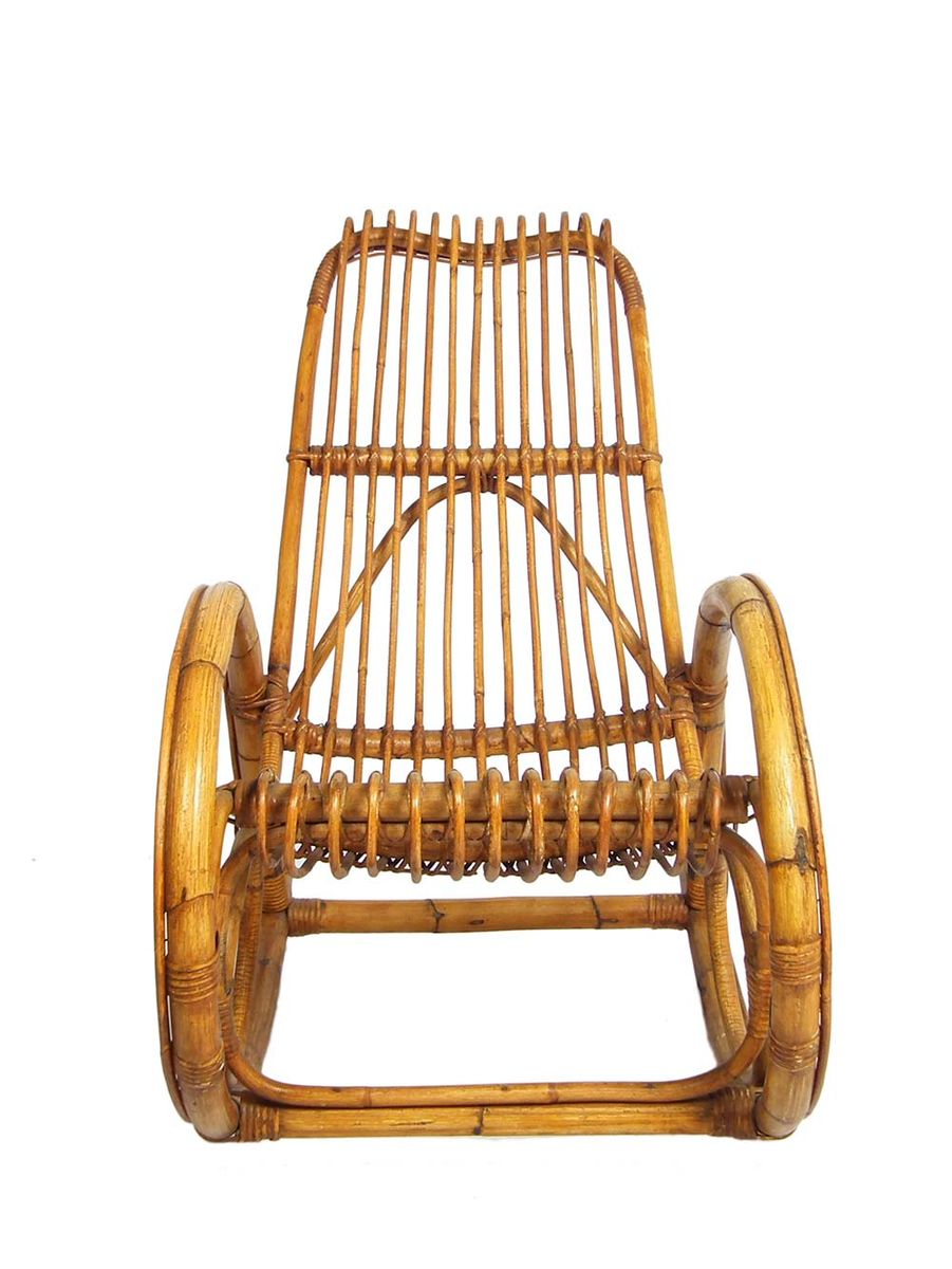Mid century schaukelstuhl aus bambus und rattan 1960er for Bambus schaukelstuhl