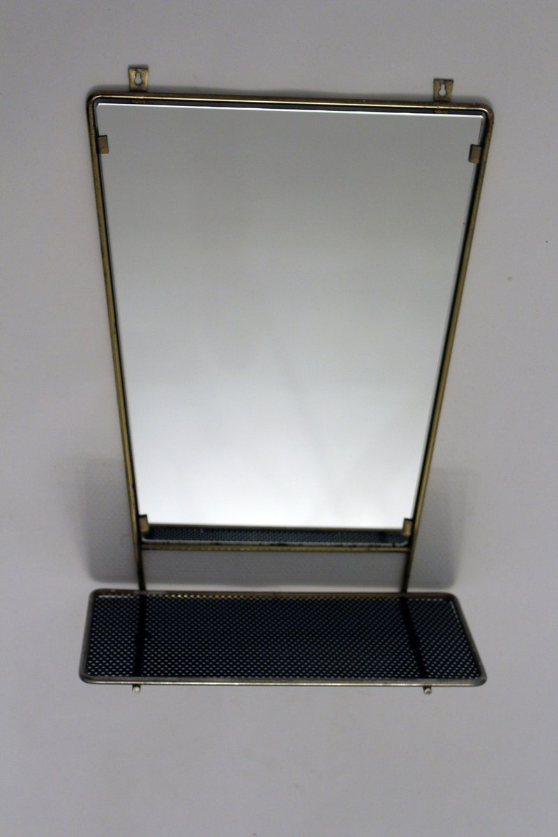 Vintage wall mirror with shelf for sale at pamono for Mirror with shelf