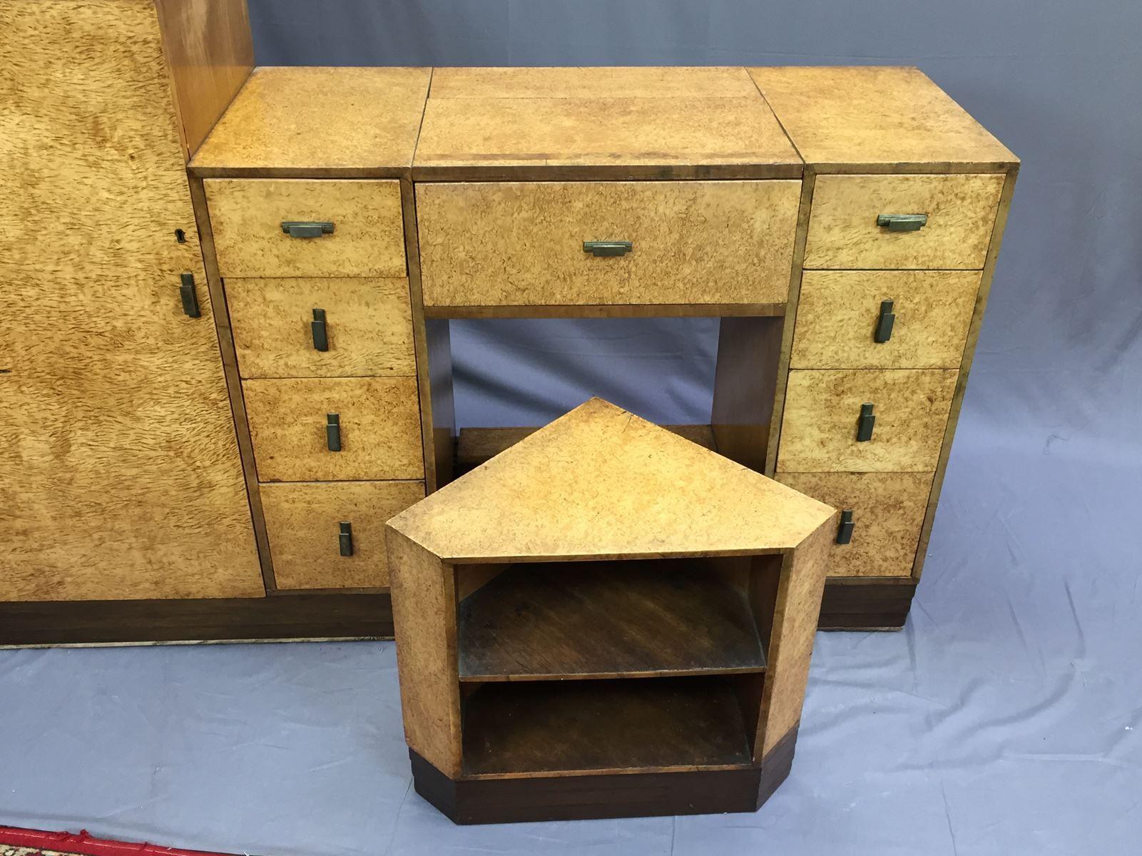 art deco schreibtisch und hocker aus r ster wurzel 1930er bei pamono kaufen. Black Bedroom Furniture Sets. Home Design Ideas