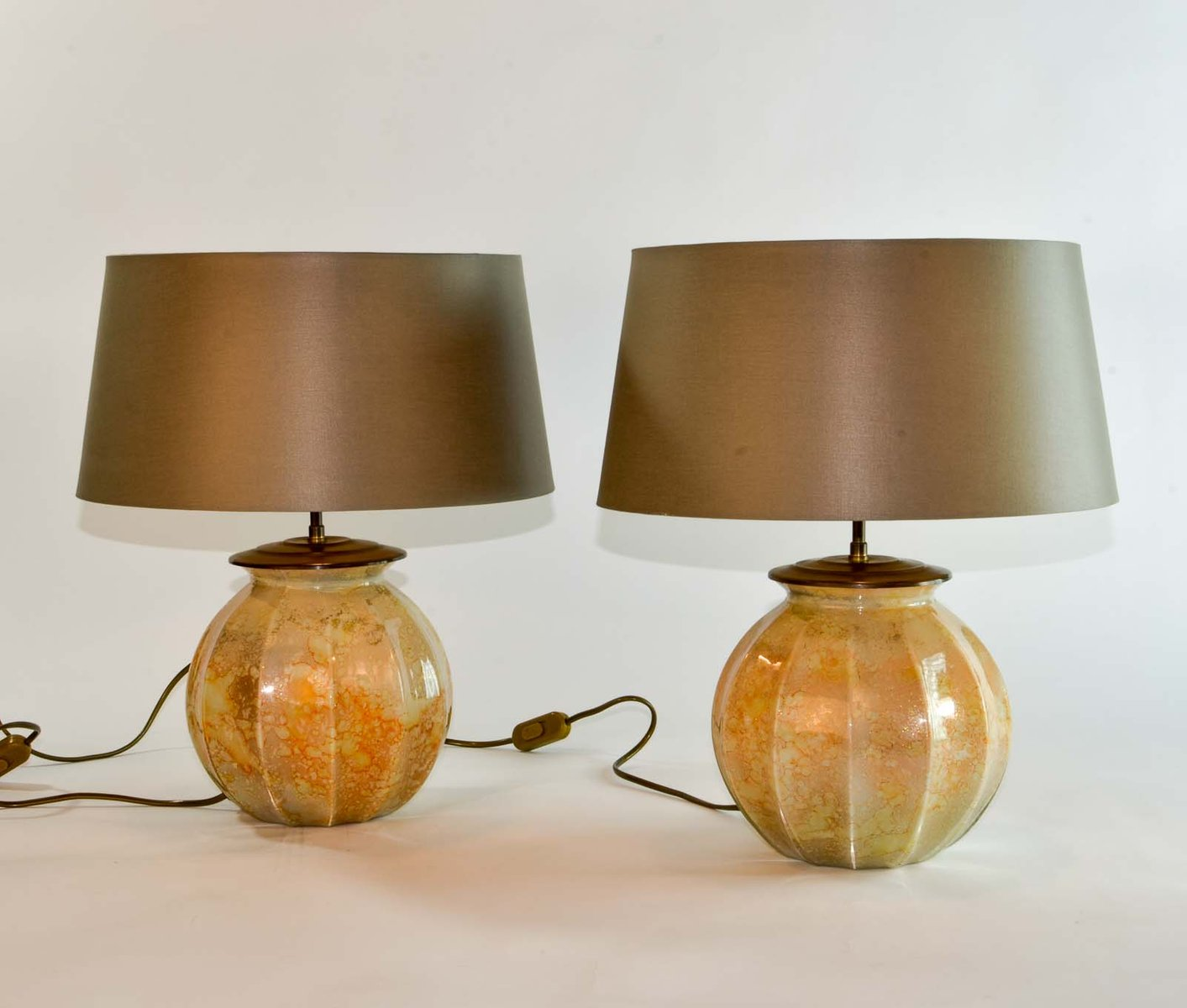 hand crafted table lamps from laque line 1970s set of 2. Black Bedroom Furniture Sets. Home Design Ideas