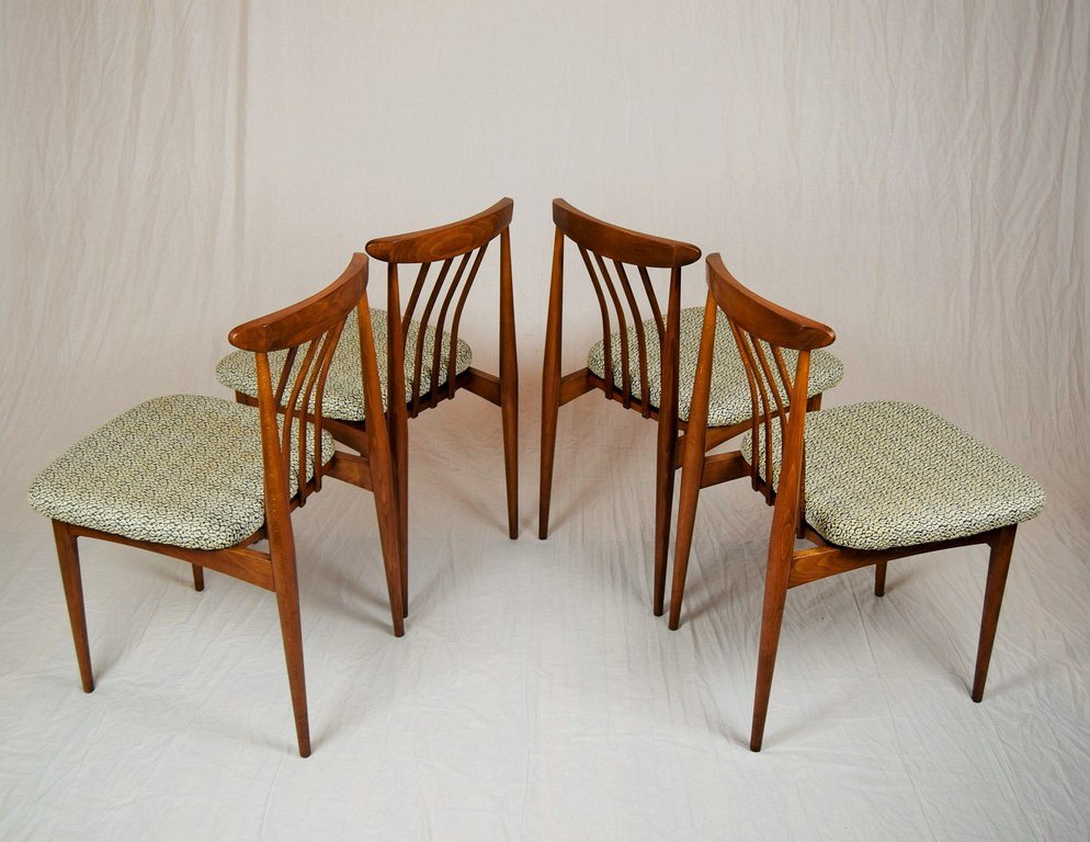 czechoslovakian upholstered dining chairs 1960s set of 4 for sale at pamono. Black Bedroom Furniture Sets. Home Design Ideas
