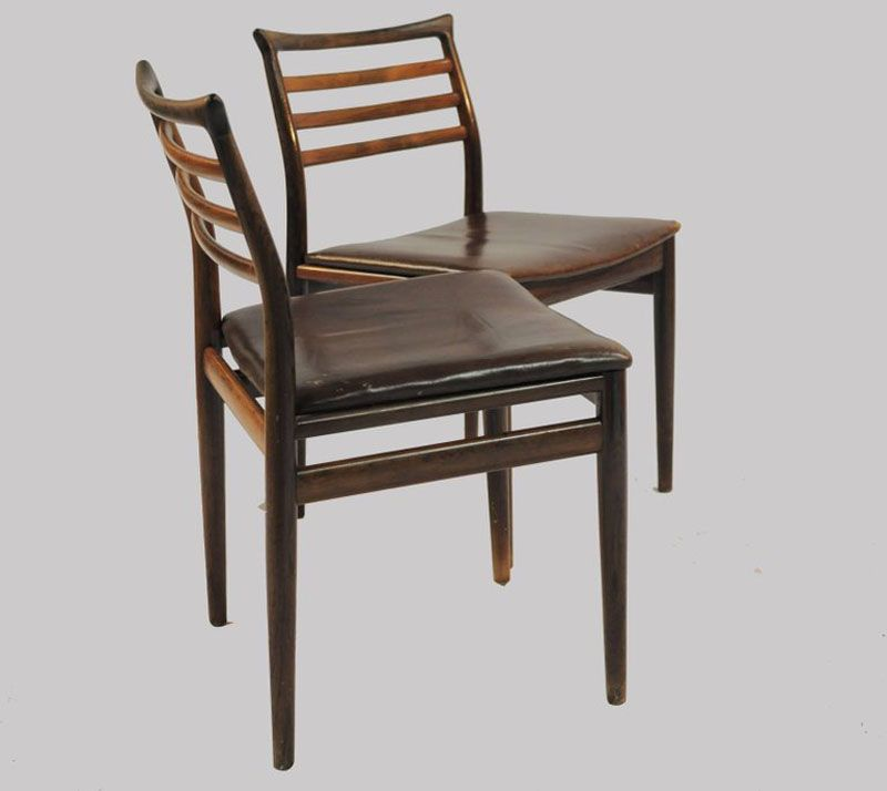 esszimmerst hle aus palisander und braunem leder von erling torvits f r sor 1960er 6er set. Black Bedroom Furniture Sets. Home Design Ideas