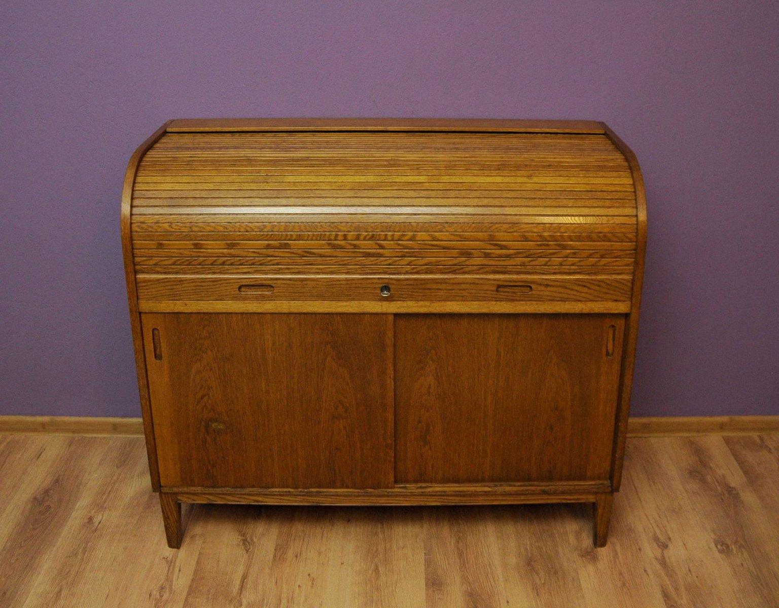 vintage swedish roll top secretaire from tvidaberg. Black Bedroom Furniture Sets. Home Design Ideas