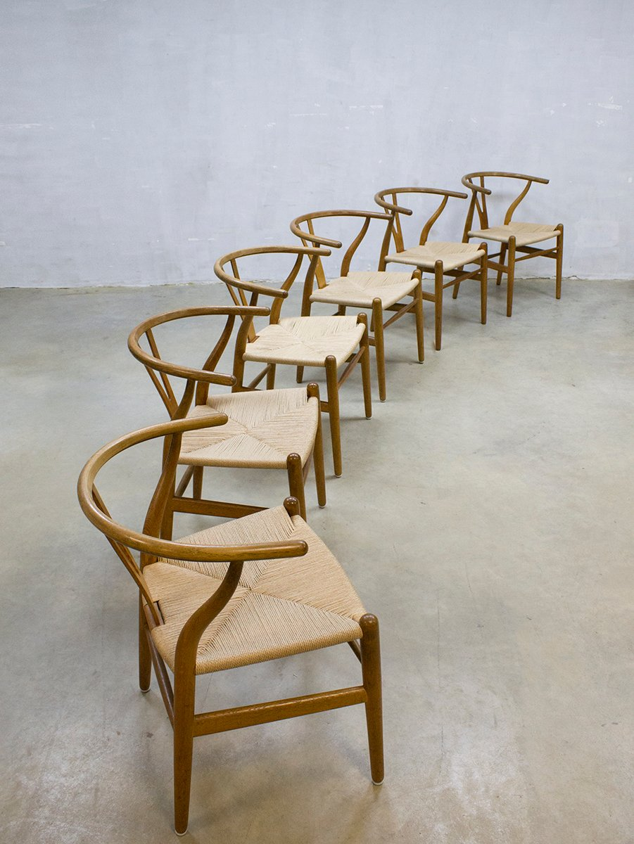 vintage ch24 wishbone chairs by hans wegner for carl hansen s n set of 6 for sale at pamono. Black Bedroom Furniture Sets. Home Design Ideas