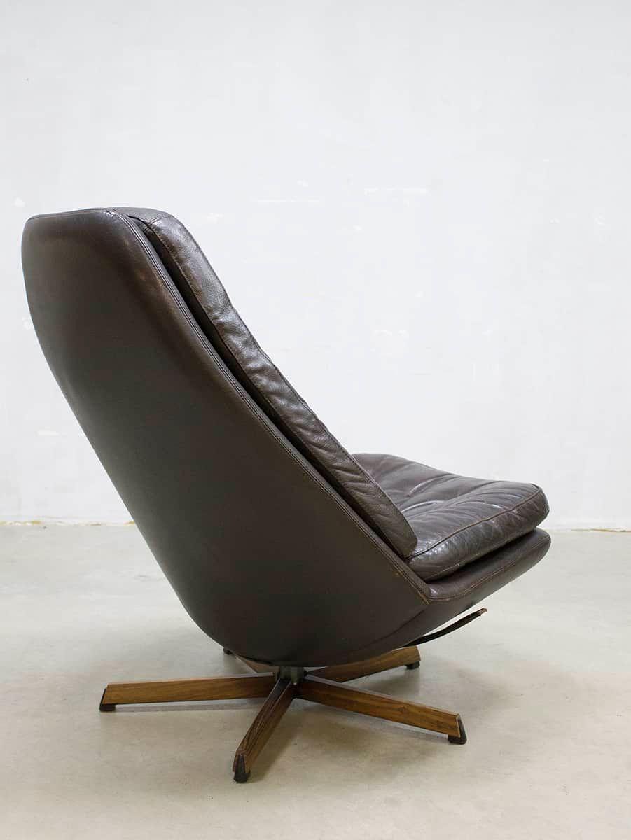 vintage leder drehsessel von madsen schubel f r. Black Bedroom Furniture Sets. Home Design Ideas