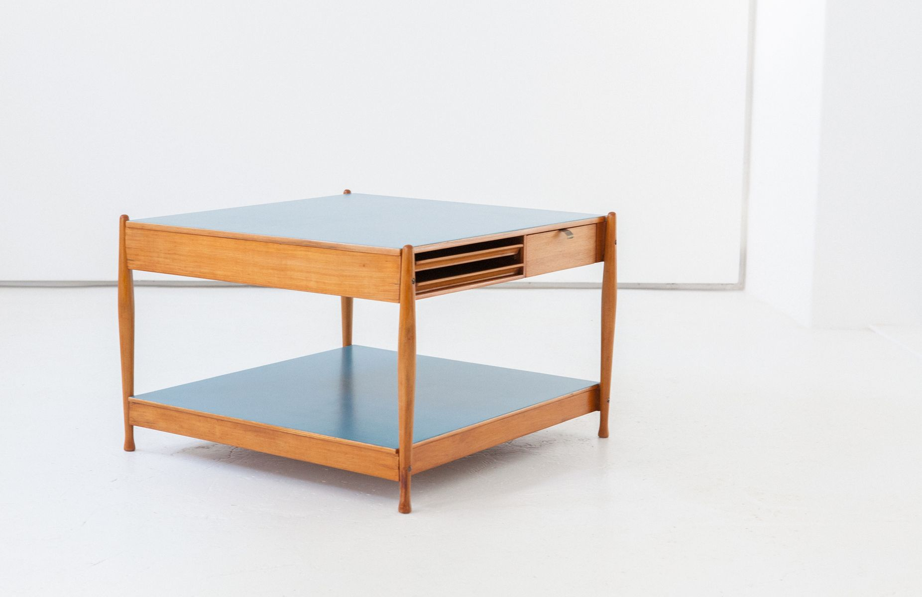 Italian Low Wooden Coffee Table With Light Blue Tops From Fratelli Reguitti 1950s For Sale At