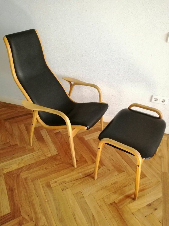 Vintage Leather Chair with Footrest from Swedese for sale at Pamono