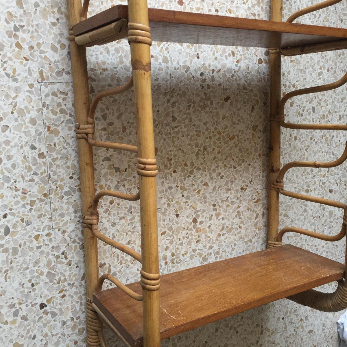 kleines vintage rattan und holz wandregal bei pamono kaufen. Black Bedroom Furniture Sets. Home Design Ideas