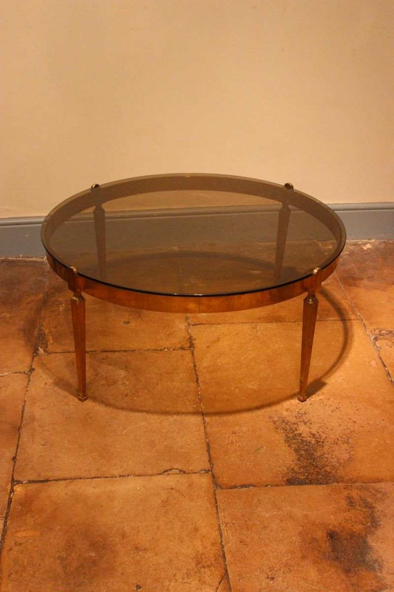 Round brass coffee table 1970s for sale at pamono Brass round coffee table