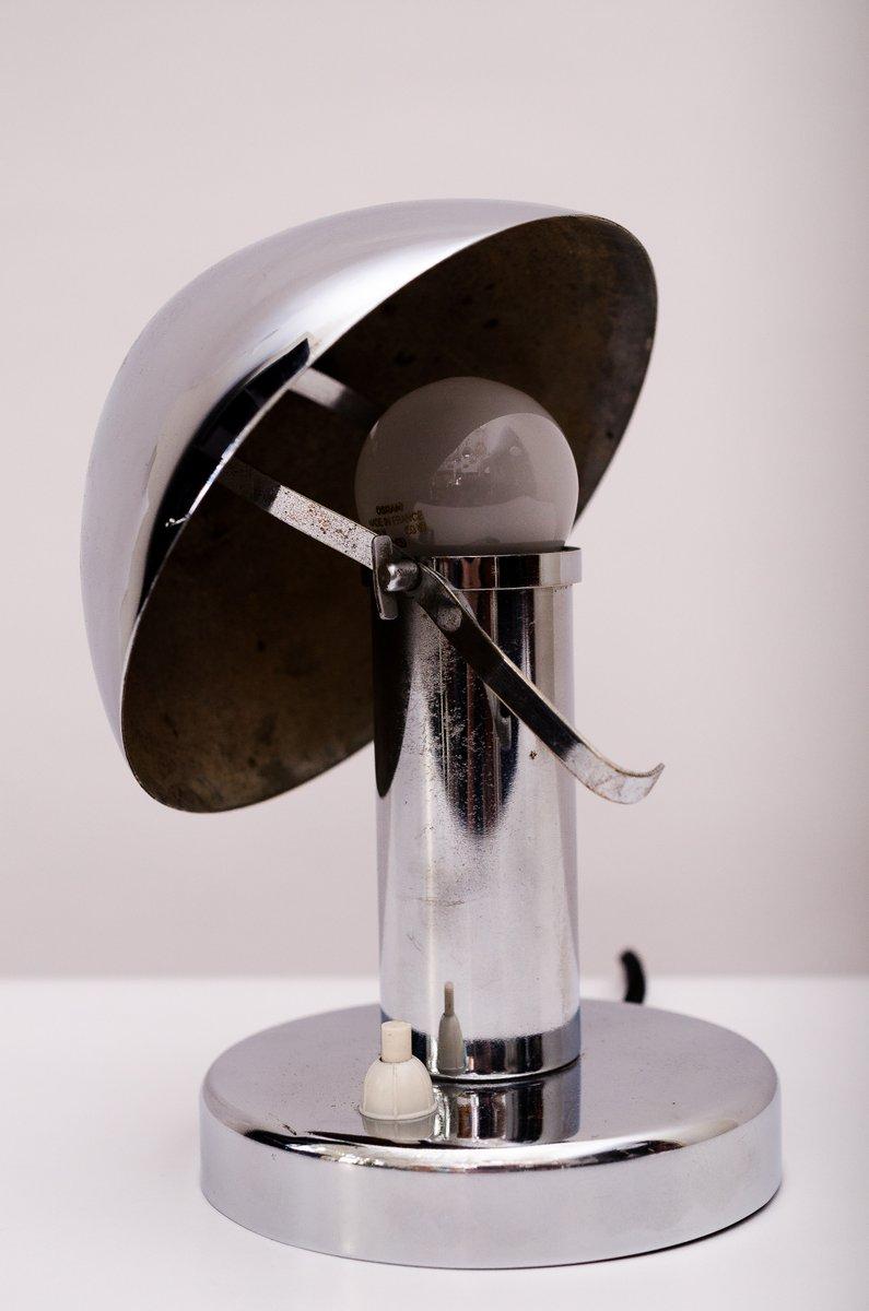 art deco chrom tischlampe mit neigbarem schirm 1920er bei. Black Bedroom Furniture Sets. Home Design Ideas