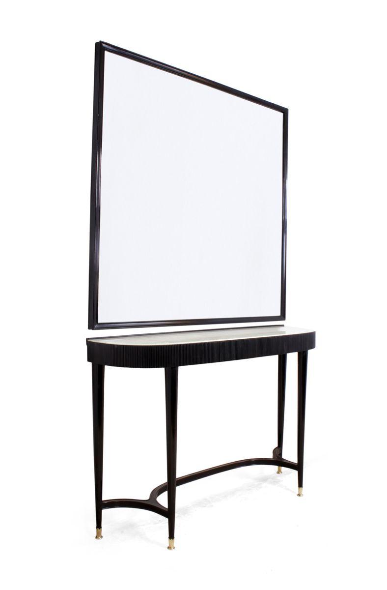 italienischer konsolentisch mit spiegel 1950er bei pamono. Black Bedroom Furniture Sets. Home Design Ideas