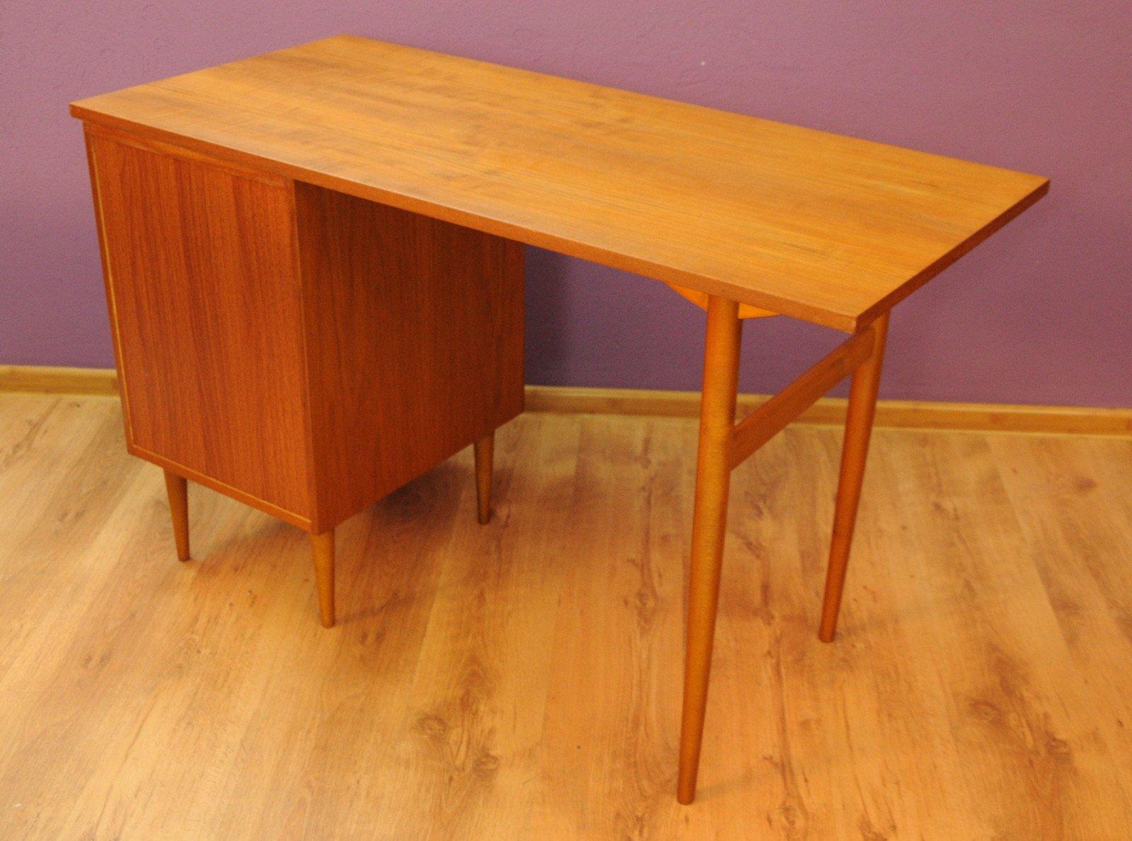 d nischer mid century schreibtisch aus teak 1960er bei. Black Bedroom Furniture Sets. Home Design Ideas
