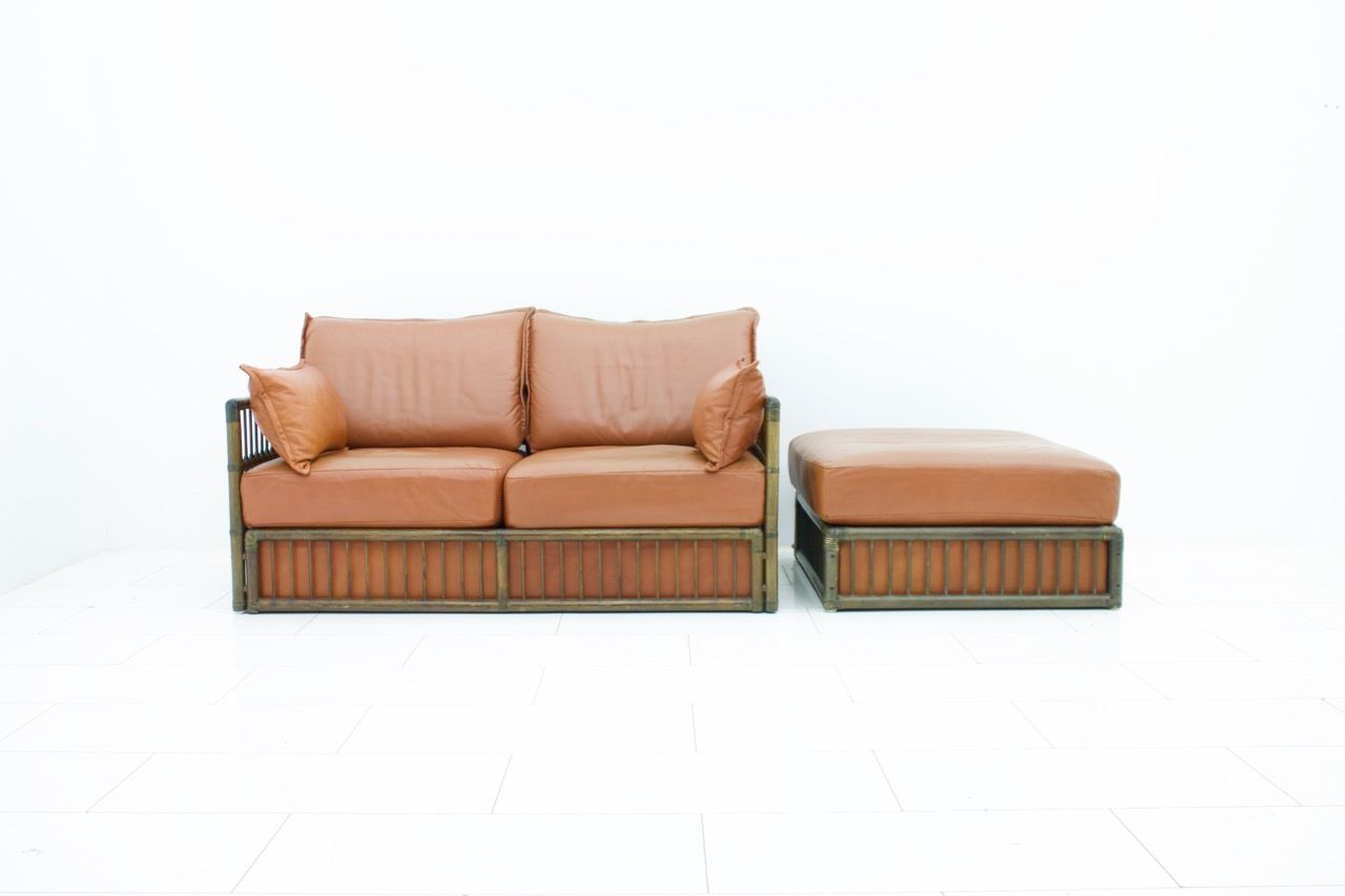 Vintage two seater leather sofa ottoman set from rolf for Sofa ottomane