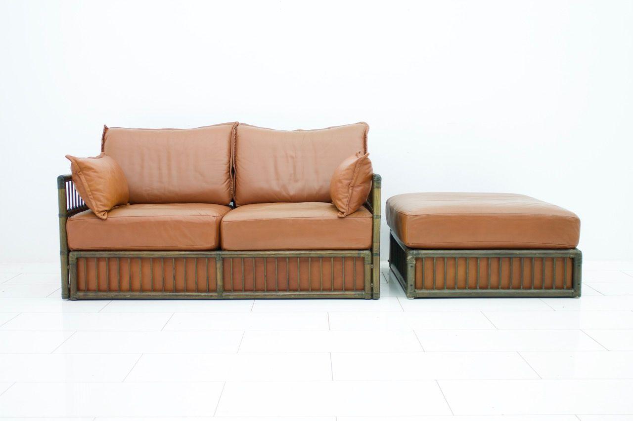 2 Sitzer Vintage Ledersofa Ottomane Set Von Rolf Benz