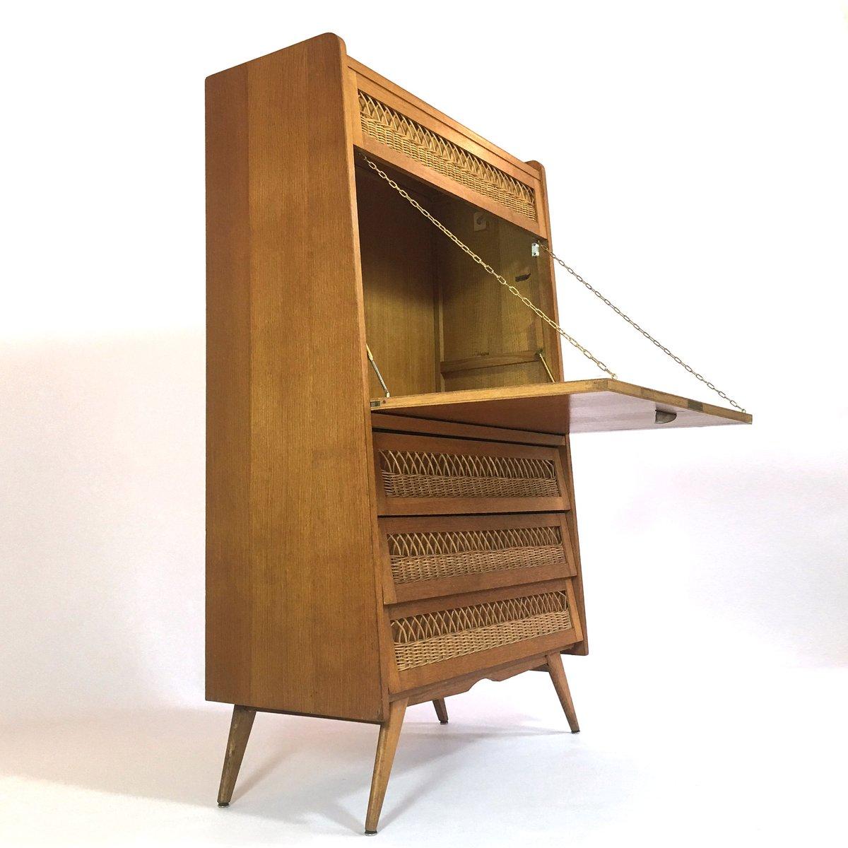 vintage french oak secretary for sale at pamono. Black Bedroom Furniture Sets. Home Design Ideas