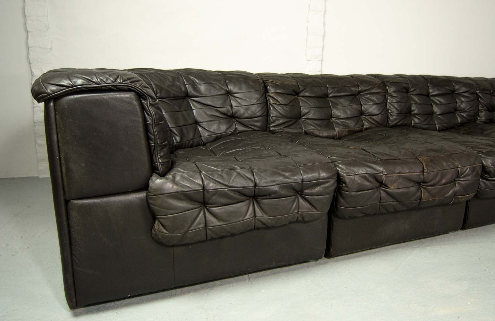 Ds11 Black Leather Modular Sofa From De Sede 1960s For Sale At Pamono