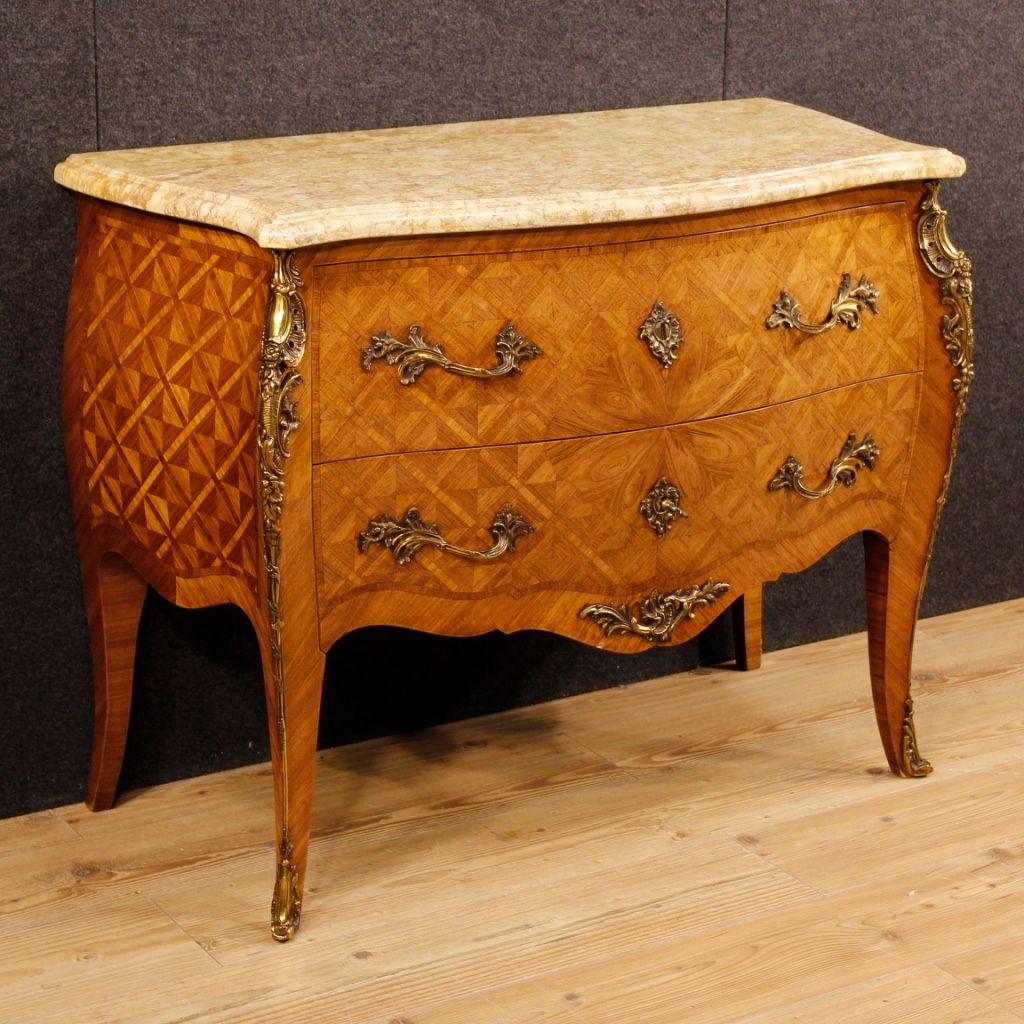 mid century french rosewood inlaid dresser with marble top for sale at pamono. Black Bedroom Furniture Sets. Home Design Ideas