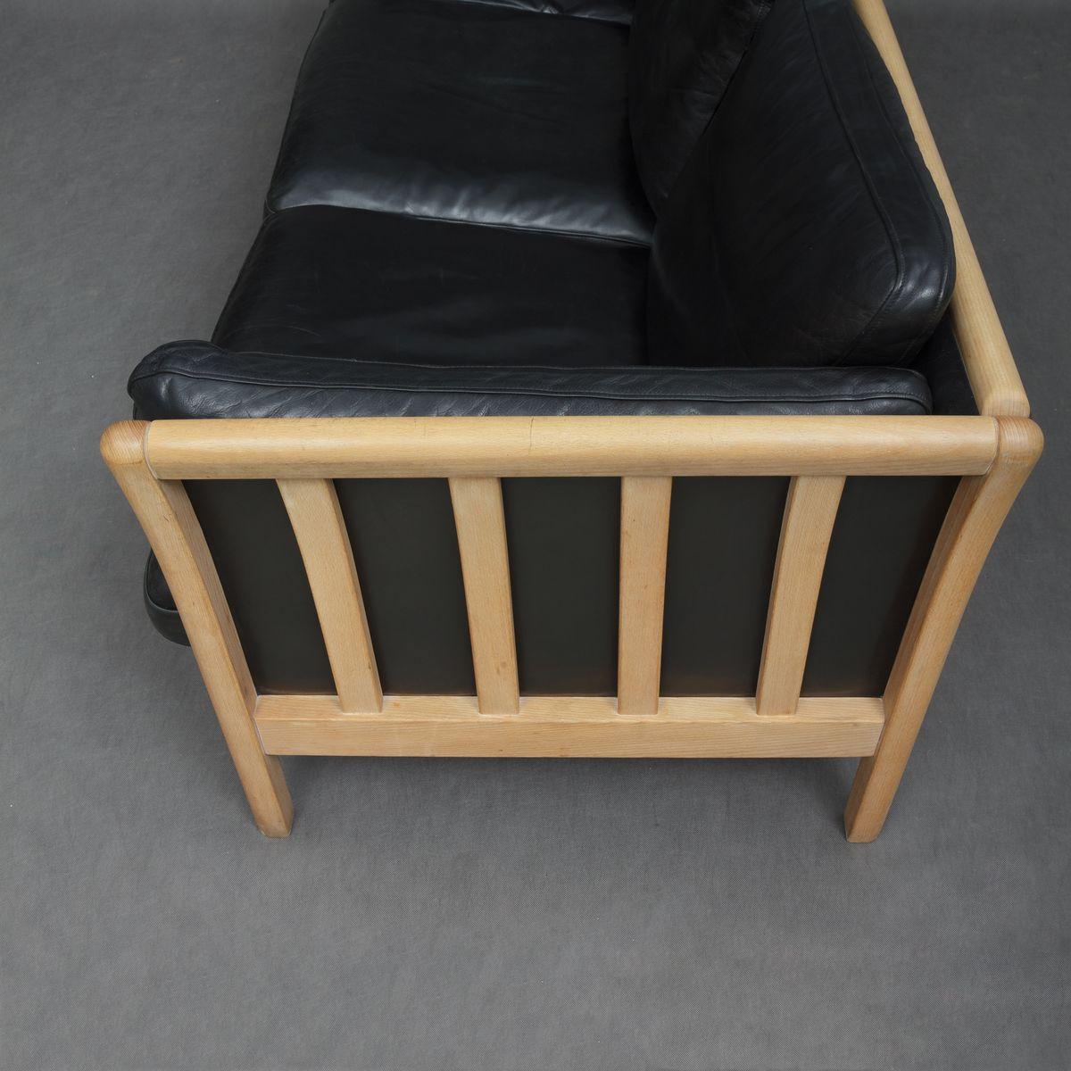 Danish Black Leather Sofa by Mogens Hansen 1980s for sale