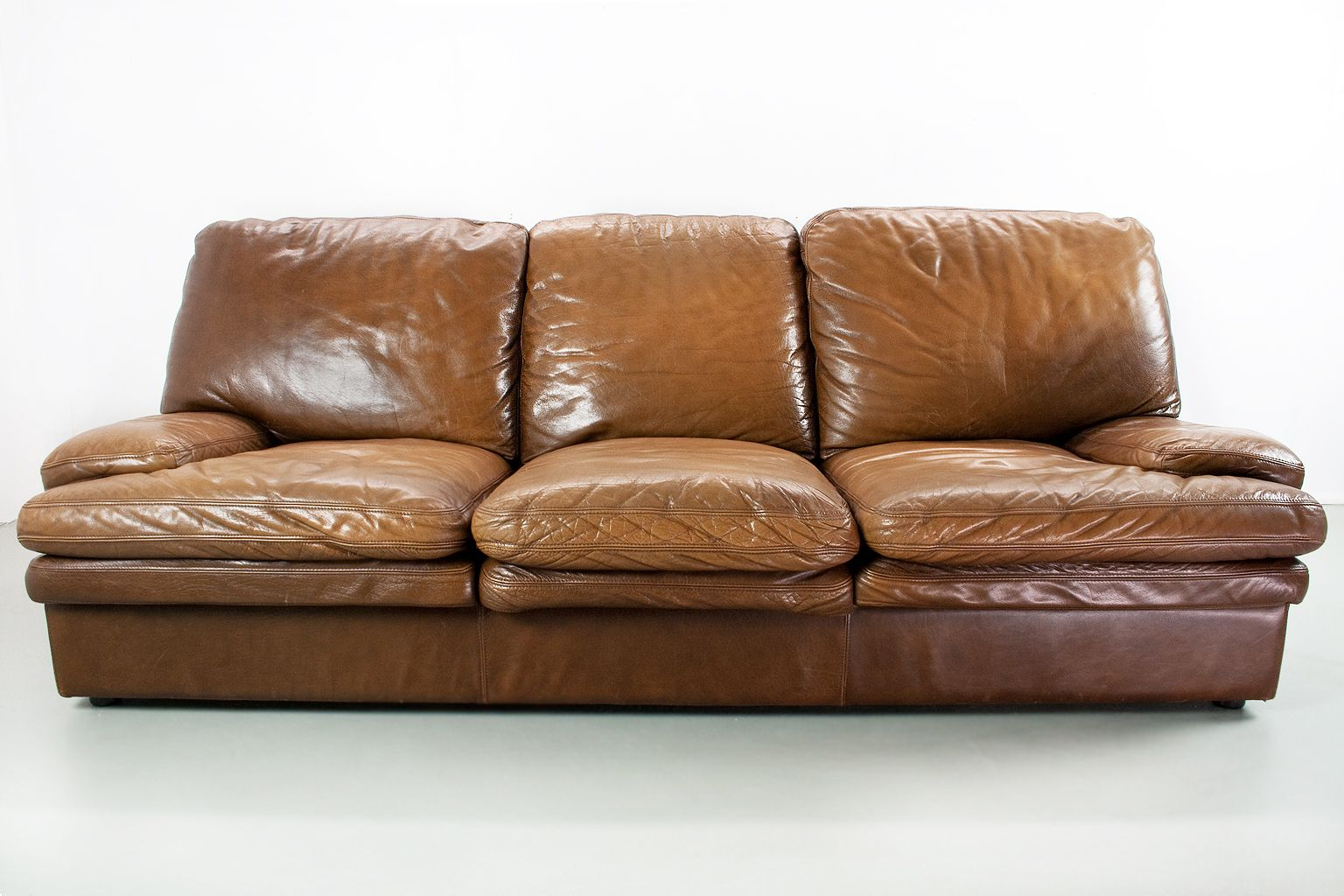 Mid Century Modern Brown Leather 3 Seater Lounge Sofa For Sale At Pamono