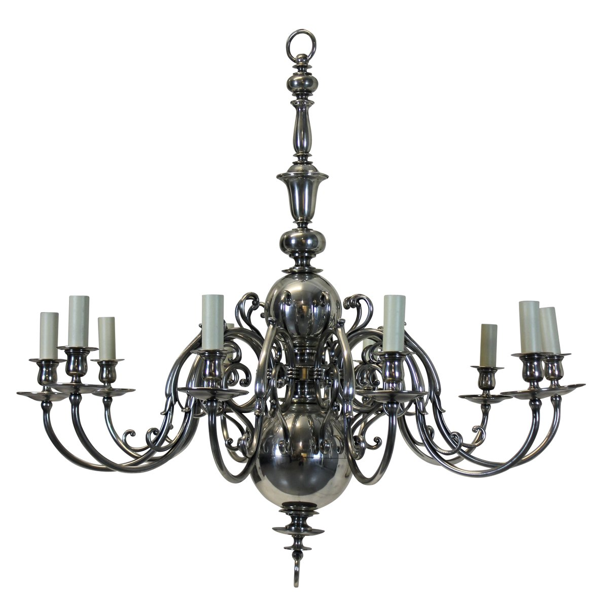 Antique Silver-Plated Chandelier - Antique Silver-Plated Chandelier For Sale At Pamono