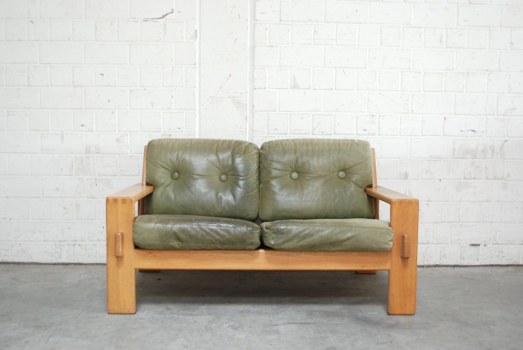 Vintage Bonanza Green Leather Sofa By Esko Pajamies For Asko For Sale At Pamono