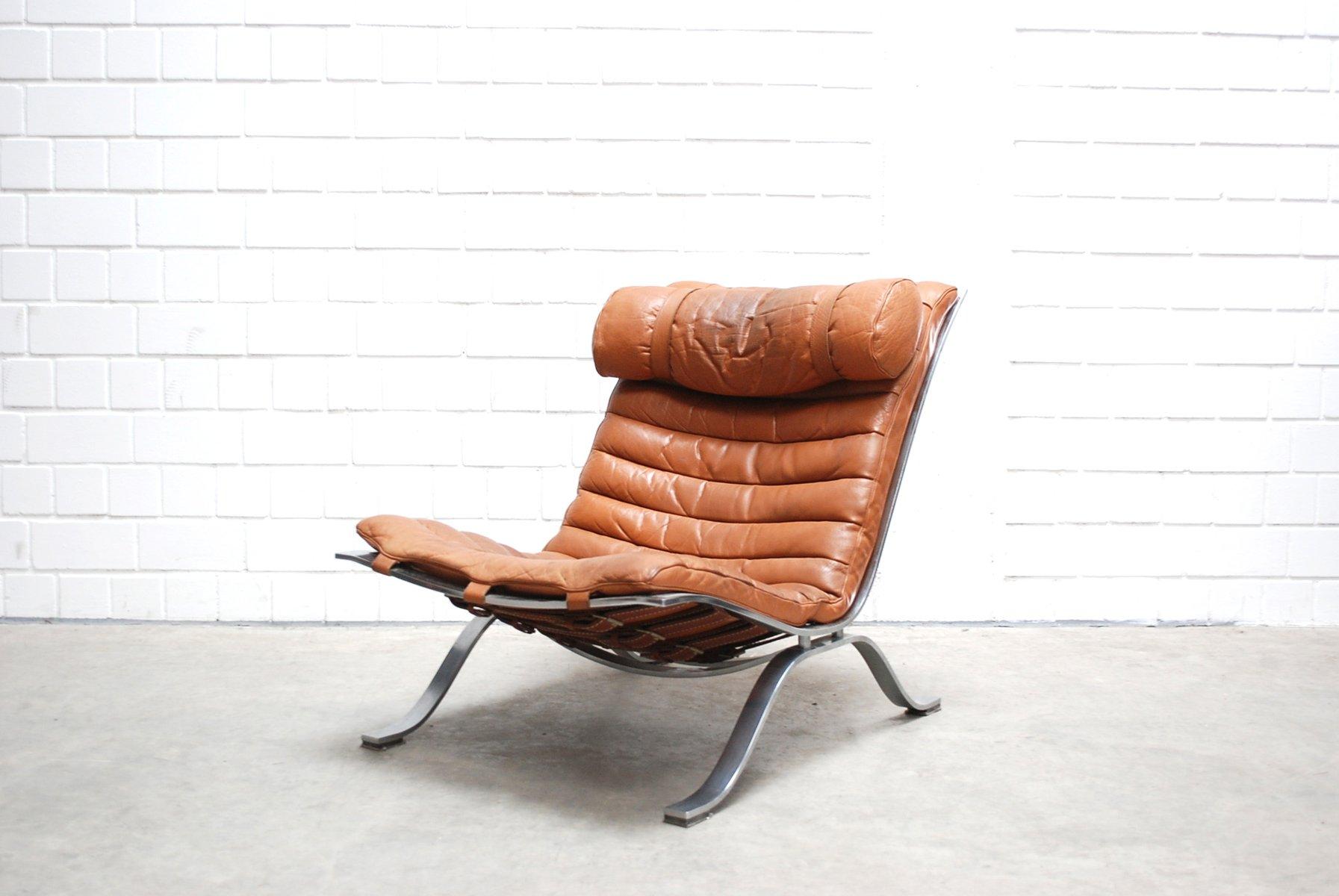 Vintage Ari Lounge Chair In Cognac Brandy Leather By Arne