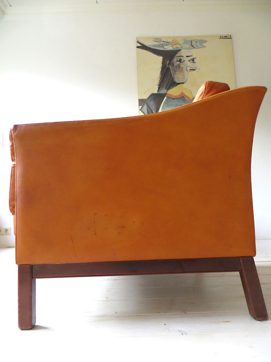 Danish Vintage Armchairs In Cognac Brown Leather, 1960s, Set Of 2