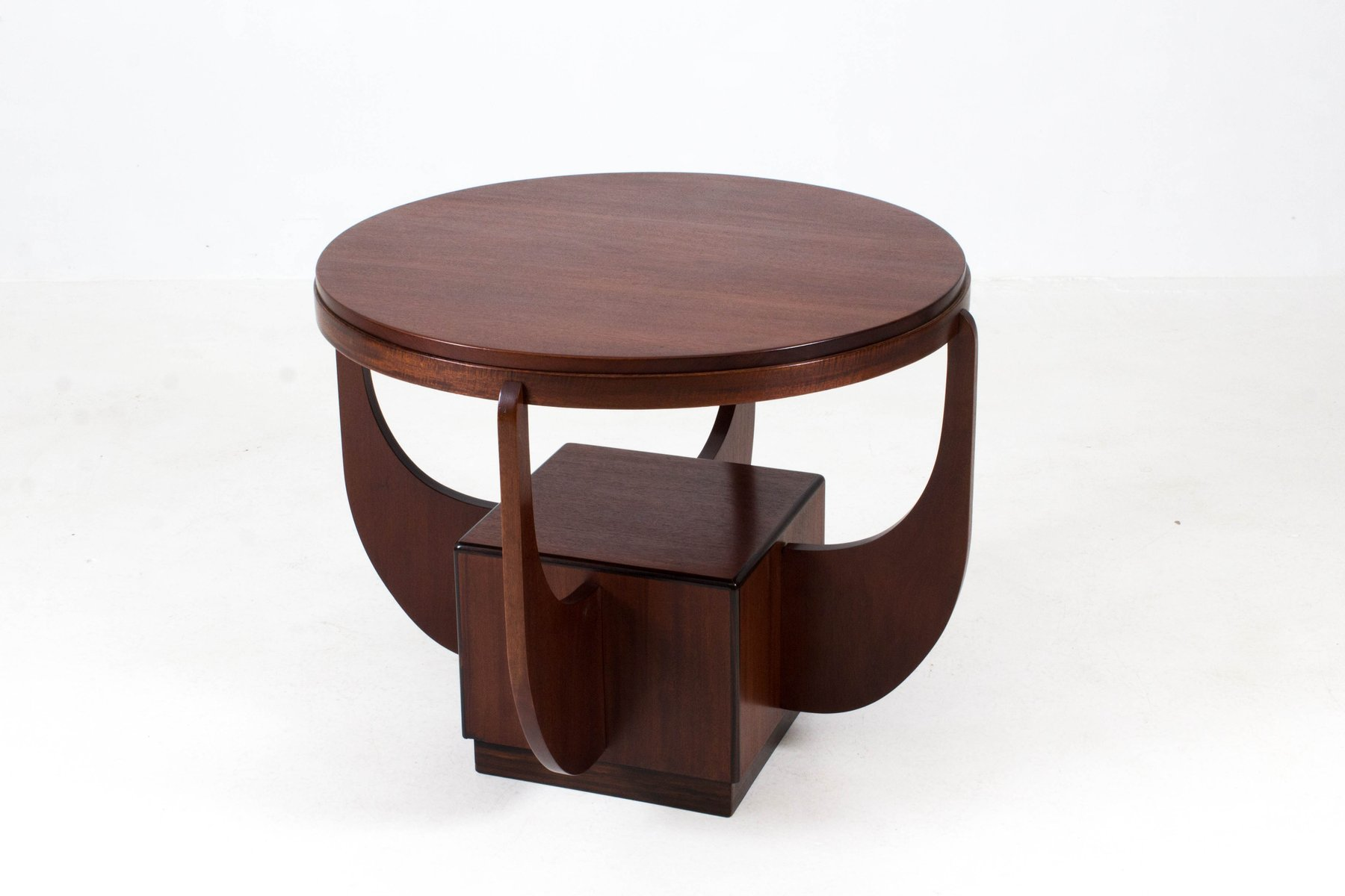 Marvelous Dutch Art Deco Mahogany Coffee Table From Paul Bromberg, 1920s