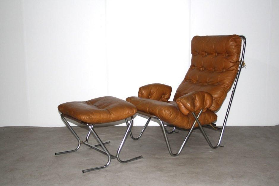 Mid Century Cognac Leather Amp Tubular Chrome Lounge Chair