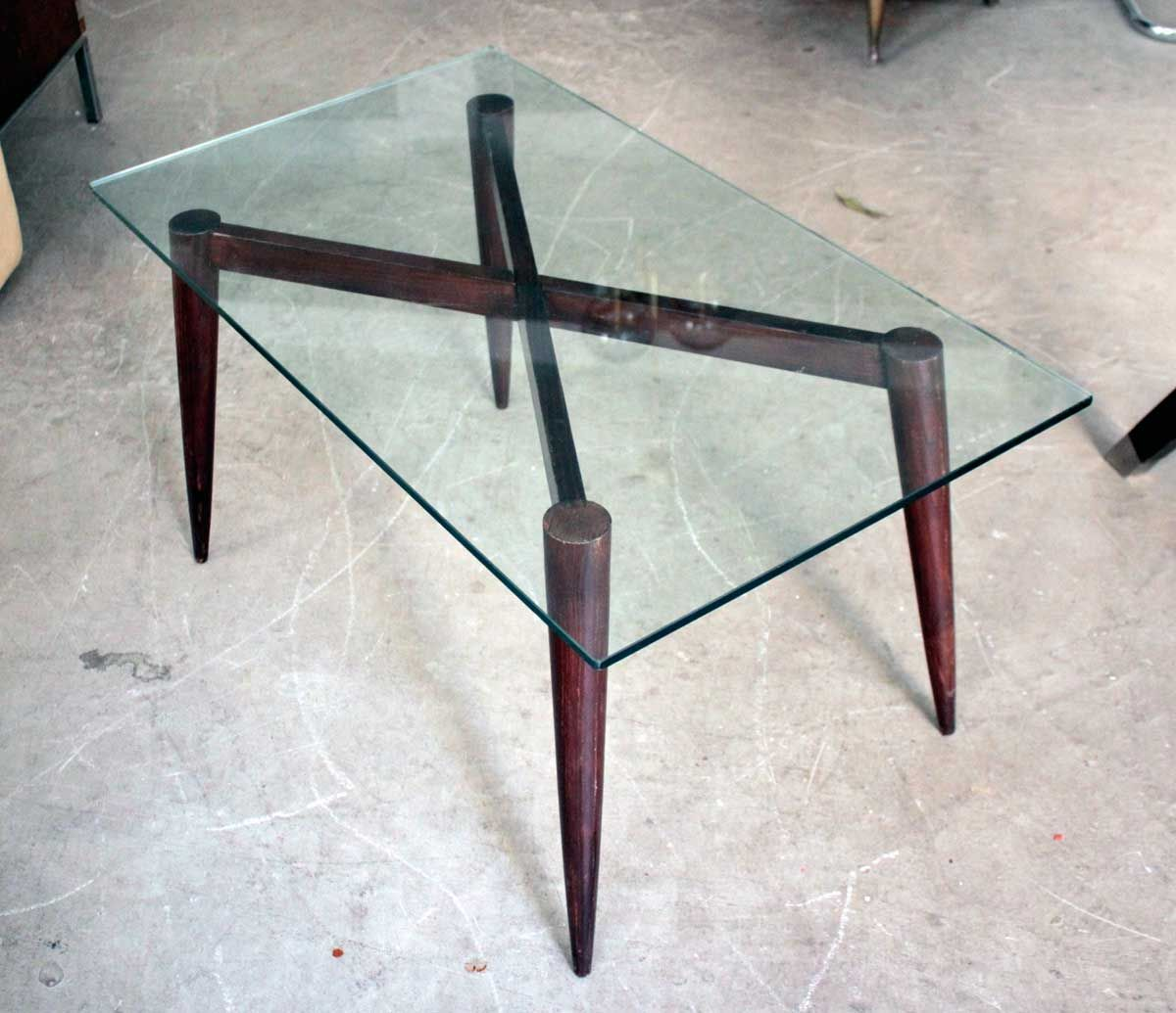 Coffee Table In Wood Glass 1950s For Sale At Pamono