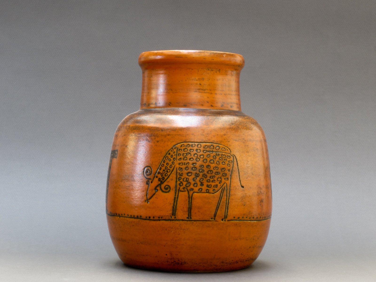 Burnt orange vase with animal motifs by jacques blin for Orange vase