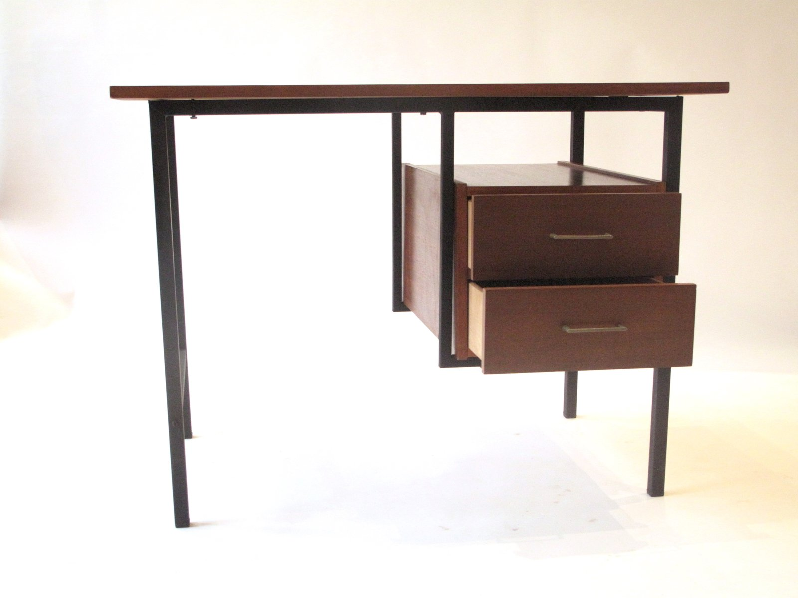 Wood and metal desk 1960s for sale at pamono for Metal desk with wood top