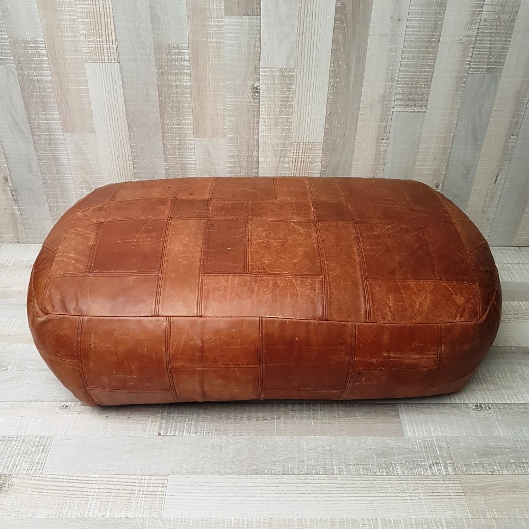 large oval cognac leather patchwork pouf 1970s for sale at pamono. Black Bedroom Furniture Sets. Home Design Ideas