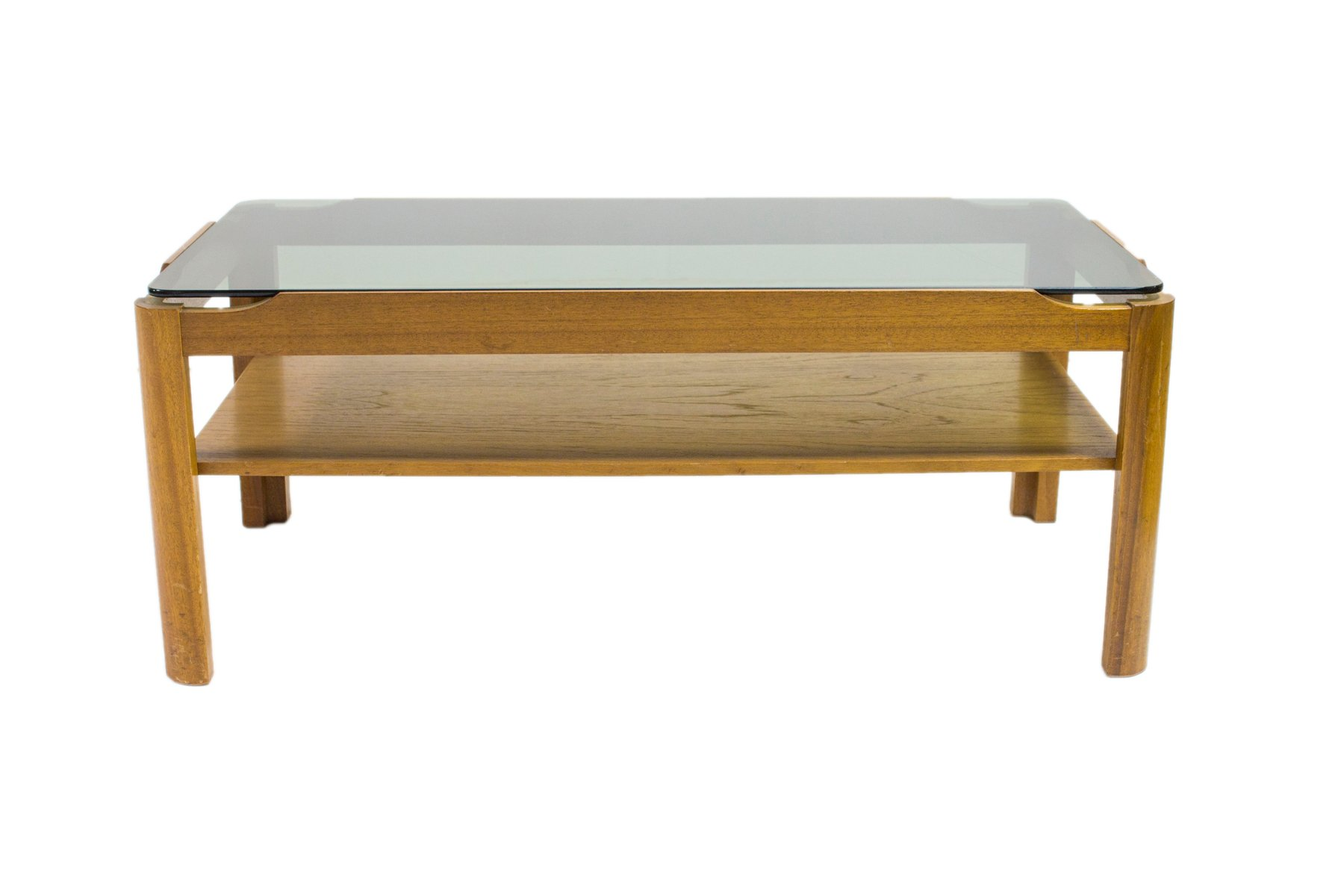 Teak Smoked Glass Coffee Table From Myer 1960s For Sale