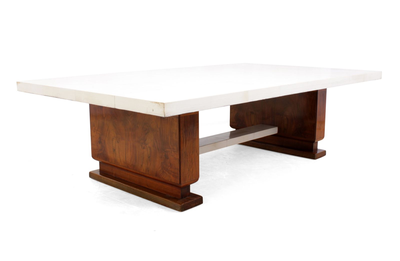 Art deco walnut parchment coffee table 1930s for sale for Miroir art deco 1930
