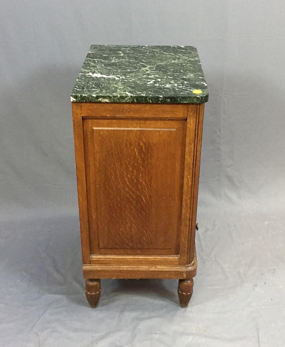 vintage art deco oak bedside table with gray marble top. Black Bedroom Furniture Sets. Home Design Ideas