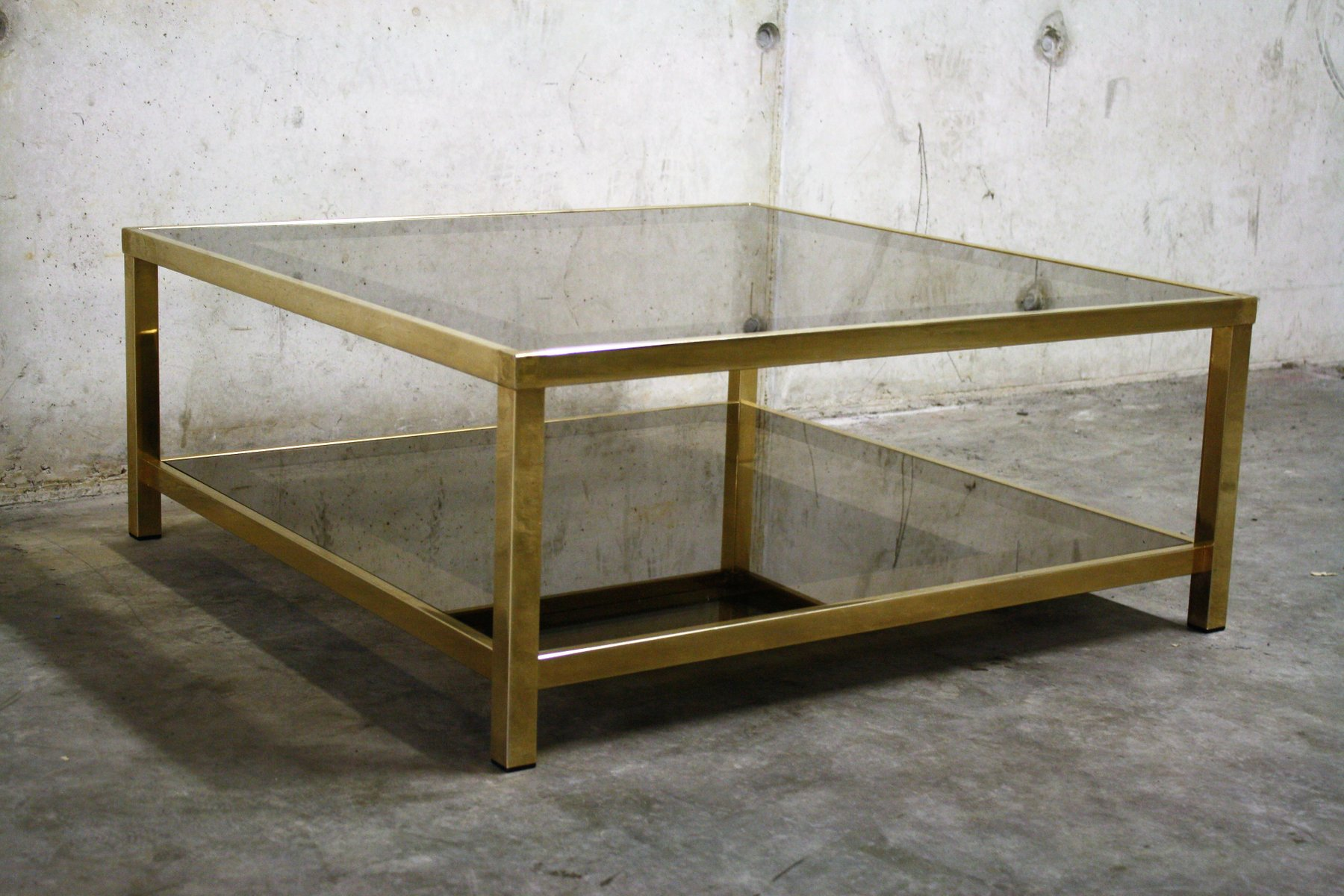 Brass Coffee Table With Smoked Glass 1970s For Sale At Pamono