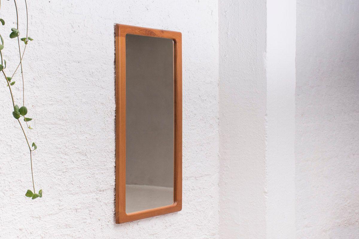 vintage spiegel mit rahmen aus massivem teakholz von cfc silkeborg bei pamono kaufen. Black Bedroom Furniture Sets. Home Design Ideas