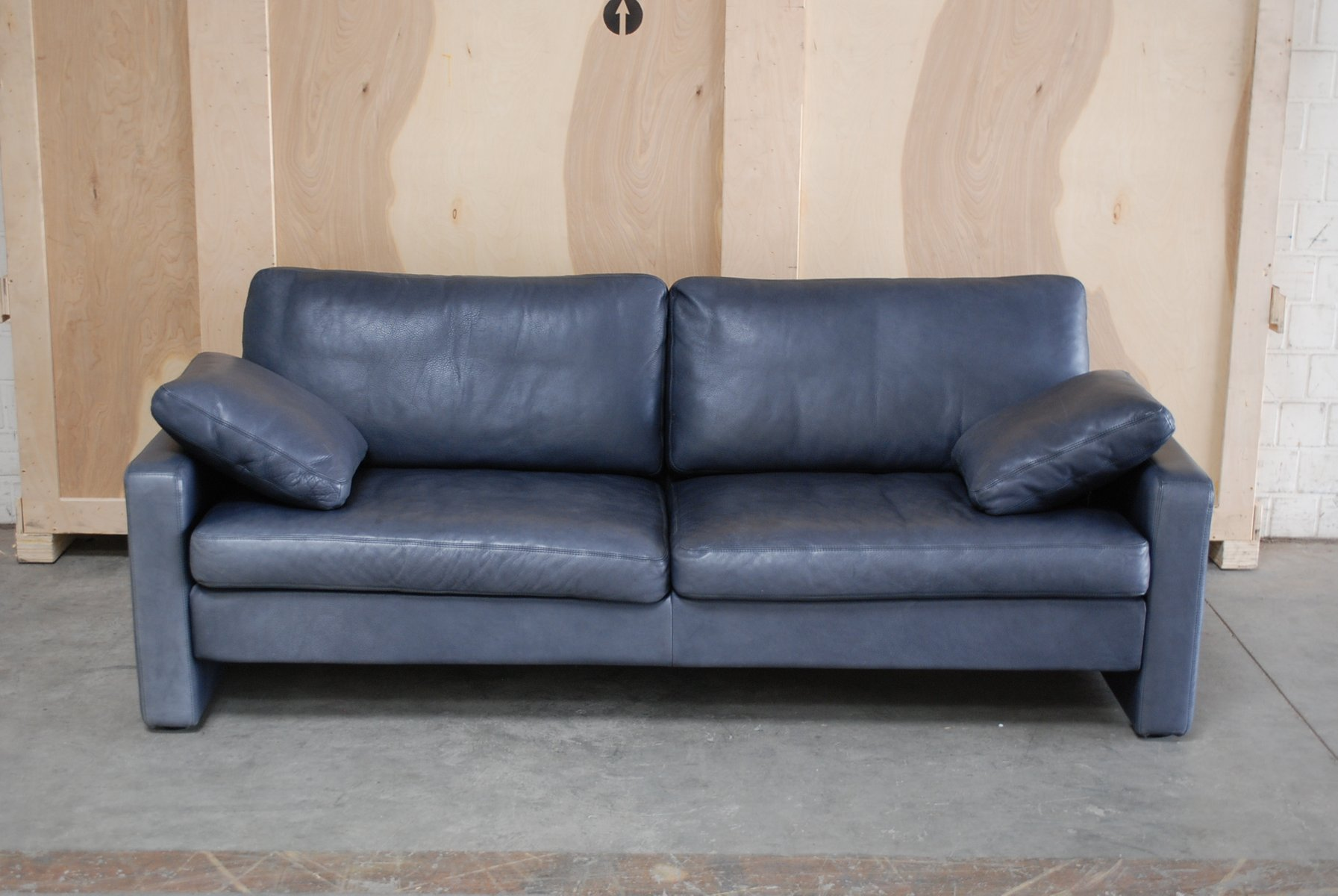 Vintage Conseta Blue Leather Sofa From Cor For Sale At Pamono