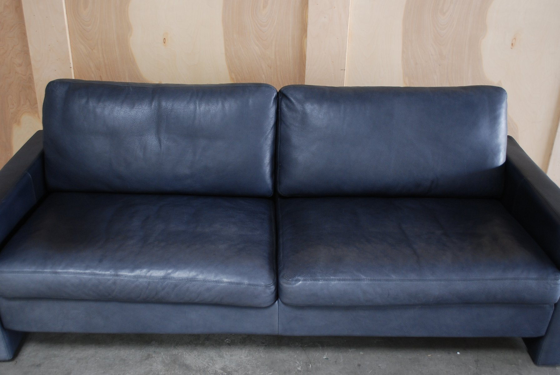 Vintage conseta blue leather sofa from cor for sale at pamono for Blue leather couch